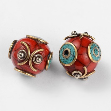 Round Tibetan Style Beads, with Synthetic Turquoise and Antique Golden Brass Findings, Dark Red, 15x16.5mm, Hole: 2mm(TIBEB-F041-12)