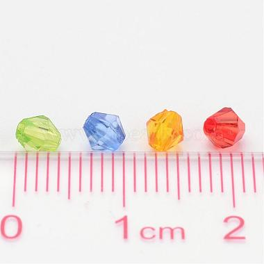 Mixed Color Chunky Dyed Transparent Acrylic Faceted Bicone Spacer Beads for Kids Jewelry(X-DBB4mm)-4