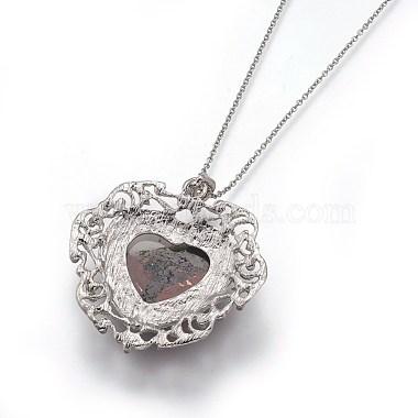 Natural Bloodstone Pendant Necklaces(NJEW-P242-A11)-4