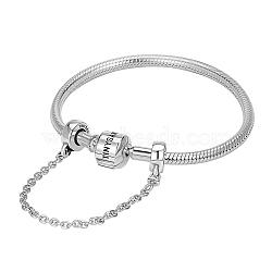 Tinysand® sterling tinysand argent chaîne de sécurité bracelets européens, argenterie, 210mm; emballage se: 11x11.4x2.3cm(TS-BS002-S-21)