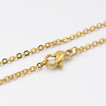 304 Stainless Steel Link Chain Necklace Making, Golden, 17.7 inches, 1.5mm(MAK-M007-G)