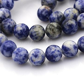 8mm Round Blue Spot Stone Beads