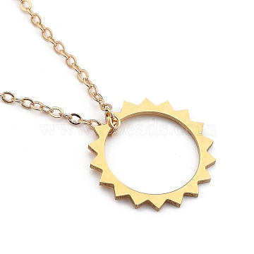 """201 Stainless Steel Sun Pendant Necklaces, with 304 Stainless Lobster Claw Clasps, Brass Cable Chains and Cardboard Boxes, Golden, 16.14""""(41cm)(X-NJEW-JN03025)"""