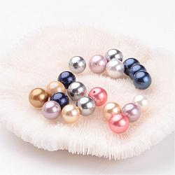 Shell Pearl Colorful Beads, Grade AB, Round, Mixed Color, 8mm, Hole: 0.8mm(X-BSHE-S605-8mm-M)