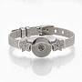 сплав браслет со стразами, с кнопках, звезда, платина, 8-7 / 8 (22.5 см), 8 мм; установите кнопку защелки в ручку 5~6 мм.