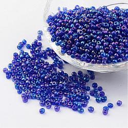 Perles de rocaille de couleur d'arc-en -ciel en verre transparent, bleu, taille: environ 3mm de diamètre, trou: 1 mm; environ 1102 pcs / 50 g
