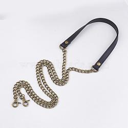 poignées de sac en simili cuir, avec des chaînes de fer et des fermoirs en alliage, pour accessoires de remplacement de sangles de sac, bronze antique, noir, 1215x12x3 mm(X-FIND-T054-09A-AB)
