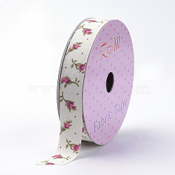 Single Face Cotton Ribbons, Printed, with Double Faced Adhesive Tape on the Other Side, Flower, Beige, 5/8inch(15mm); about 2yards/roll(1.82m/roll)(SRIB-S049-36B)