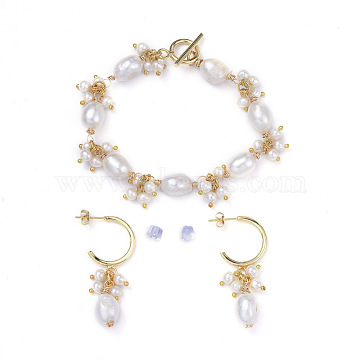 Bracelet & Dangle Earring Jewelry Sets, with Keshi Pearl, Copper Wire, 304 Stainless Steel Toggle Clasps and Brass Half Hoop Earrings, White, 7-7/8 inches(20cm), 44mm, Pin: 0.8mm(SJEW-JS01096)