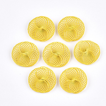 Spray Painted Environmental Iron Wire Beads, Flat Round, Gold, 28~30x25~28x9mm(IFIN-T009-04F)