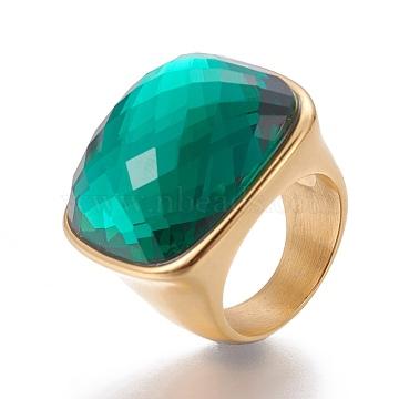Green Stainless Steel+Glass Finger Rings