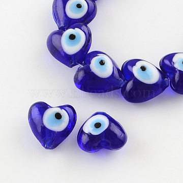 Heart Evil Eye Lampwork Bead Strands, Blue, 13~15x15x9mm, Hole: 2mm, about 24pcs/strand, 11.4 inches(LAMP-R119-01)