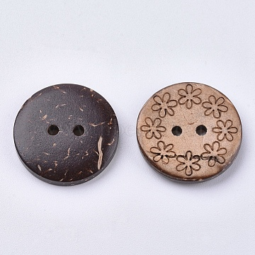Coconut Buttons, 2-Hole, Flat Round, Coffee, 20x2.5~3.5mm, Hole: 1.5mm(X-BUTT-K006-01)