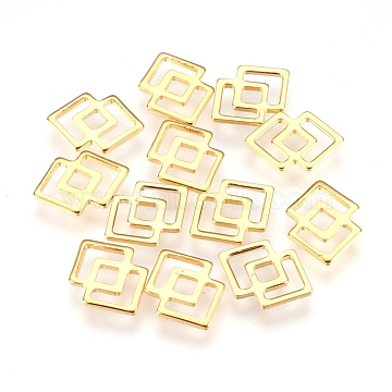 304 Stainless Steel Filigree Joiners Links, Double Rhombus, Golden, 16x11.5x1mm, Hole: 2.5mm(X-STAS-G176-59G)
