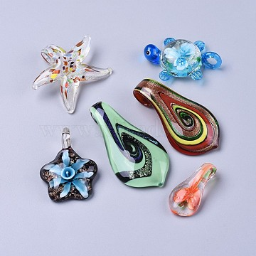 Handmade Lampwork Pendants, Mixed Shapes, Mixed Color, 35~61x17~49x6.5~10mm, Hole: 4~9mm(LAMP-XCP0001-05)