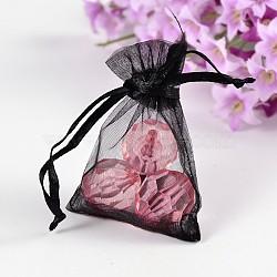 sacs d'organza de cadeau, noir, 7x5x0.2 cm(X-OP110-5)