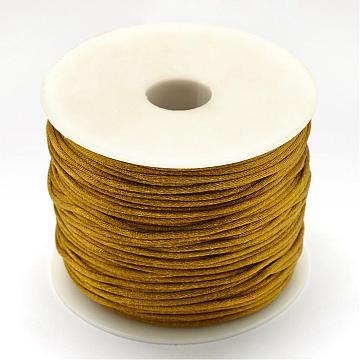 Nylon Thread, Rattail Satin Cord, Dark Goldenrod, 1.5mm, about 49.21 yards(45m)/roll(NWIR-R033-1.5mm-563)