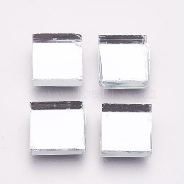 Glass Cabochons, Mirror Mosaic Border Craft Tiles, for Home Decoration or DIY Crafts, Square, Clear, 10x10x4mm, about 1300~1500pcs/1000g(GLAA-WH0005-A01)