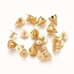 Rivets en alliage, visser en arrière, rivets pour les bijoux punk, cône, or, 5.6x7mm(PALLOY-XCP0012-01G)