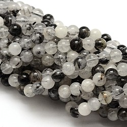 Natural Gemstone Black Rutilated Quartz Round Beads Strands, 6mm, Hole: 1mm; about 62pcs/strand, 15.5inches