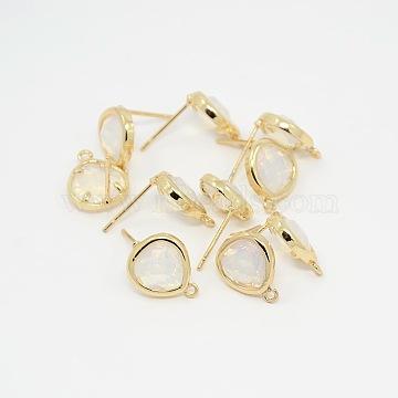 Golden WhiteSmoke Brass + Glass Stud Earrings