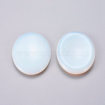 Oval Shape Opalite Thumb Worry Stone, for Energy Healing, Meditation, Massage and Decoration, 45x35x6~7.5mm(G-I219-06A)