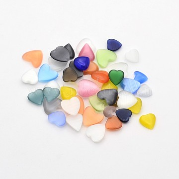 8mm Mixed Color Heart Glass Cabochons