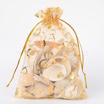 Heart Printed Organza Bags, Gift Bags, Rectangle, Goldenrod, 18x13cm(X-OP-R022-13x18-04)