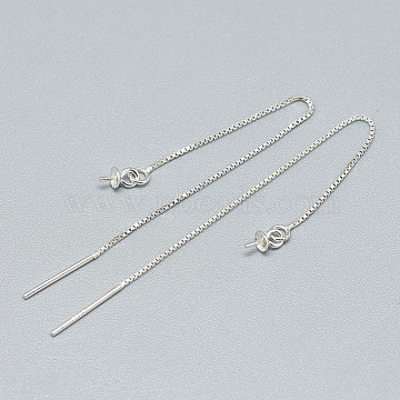 925 Sterling Silver Ear Thread Findings, For Half Drilled Beads, Carved 925, Silver, 72mm; Pin: 0.8mm(X-STER-T002-192S)