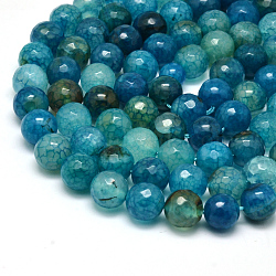 Natural Agate Bead Strands, Round, Grade A, Faceted, Dyed, Cyan, 10mm, Hole: 1mm; about 37pcs/strand, 15inches