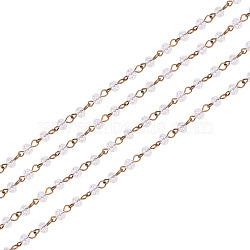 Handmade Glass Beads Chains, with Iron Eye Pin, Unwelded, Faceted Rondelle, Antique Bronze, Clear, Antique Bronze, 6x4mm, about 1m/strand, 39.3 inches/strand(X-AJEW-PH00498-01)