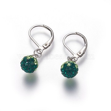 304 Stainless Steel Leverback Dangle Earrings, with Polymer Clay Rhinestone Beads, Round, Stainless Steel Color, Emerald, 29mm, Pin: 0.7x1mm(EJEW-O089-15P-A)