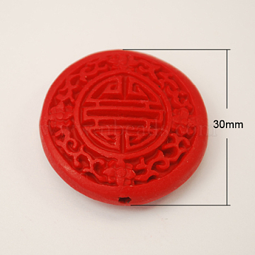 Cinnabar Beads, Carved Lacquerware, Flat Round, Red, 30x10mm, Hole: 2mm(CARL-201-2)