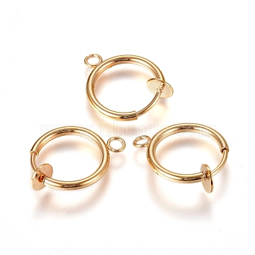 304 Stainless Steel Clip-on Earring Findings, For Non-pierced Ears, with Loop & Spring Findings, Golden, 17x13x4.5mm, Hole: 2mm(X-STAS-L238-025G)
