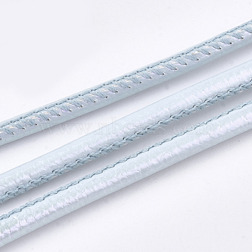 PU Leather Cords, Light Blue, 3.5~4mm, about 10.93 yards(10m)/roll(LC-S019-06A)