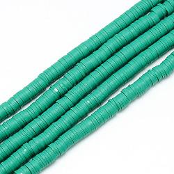 brins de perles en argile polymère faits à la main, perles heishi, disque / rond plat, lightseagreen, 6x0.5~1 mm, trou: 2 mm; environ 320~447 perle / brin, 15.74(X-CLAY-T002-6mm-08)
