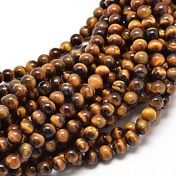 Natural Tiger Eye Round Bead Strands, 6mm, Hole: 1mm; about 60pcs/strand, 15inches