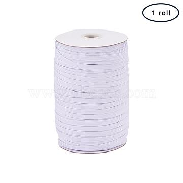 PandaHall Elite Flat Elastic Cord, White, 6x1mm; about 200yards/roll(600 feet/roll)(EC-PH0001-07A)