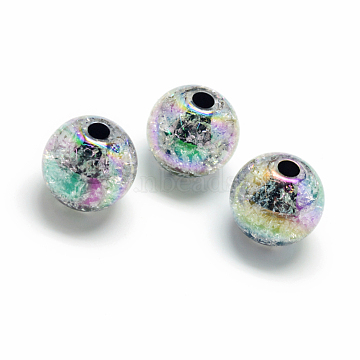 Crackle Style Acrylic Beads, AB Colour, Inside Color, Round, Colorful, 16mm, Hole: 4mm; about 225pcs/500g(MACR-S825-16mm-J)