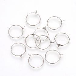 316 boucles d'oreilles en acier inoxydable de l, couleur inoxydable, 18~19x15x0.5mm(X-STAS-R071-31)