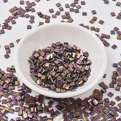 Perles de tila miyuki®, Perles de rocaille japonais, 2-trou, (tl1893) prune or lustre, 5x4.5x2mm, trou: 0.7 mm; environ 118 pcs / 10 g(X-SEED-J020-TL1893)