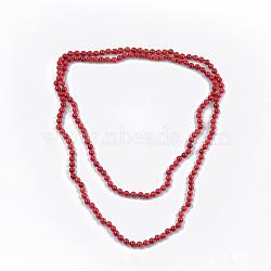 Colliers à deux niveaux avec perles de corail de bambou de mer (imitation de corail), colliers double couche, firebrick, 47.2'' (120 cm)(NJEW-S414-27B)