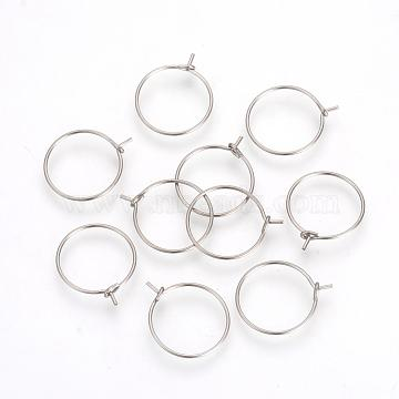 316L Surgical Stainless Steel Hoop Earrings, for Jewelry Making and Earring Repair, Stainless Steel Color, 24 Gauge, 18~19x15x0.5mm(X-STAS-R071-31)