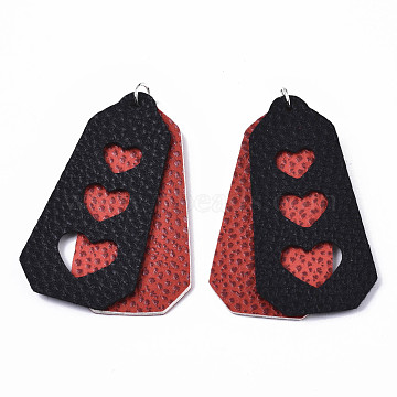 PU Leather Big Pendants, with Platinum Tone Iron Jump Rings, Polygon with Heart, Red, 62x31x3mm, Hole: 5mm(FIND-R084-17)