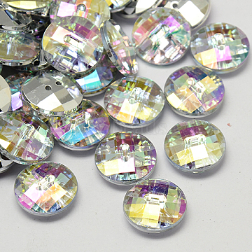 Taiwan Acrylic Rhinestone Buttons, Faceted, 2-Hole, Disc, Colorful, 11.5x4mm, Hole: 1mm(BUTT-F022-11.5mm-14)