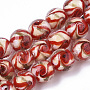 Handmade Gold Sand Lampwork Beads Strands, Round, Red, 11.5~12.5x11~12mm, Hole: 1.2mm; about 45pcs/Strand, 20.08''