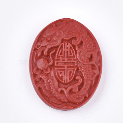Cinnabar Beads, Carved Lacquerware, Oval with Dragon, Red, 51x39x11mm, Hole: 1.8mm(X-CARL-T001-06)