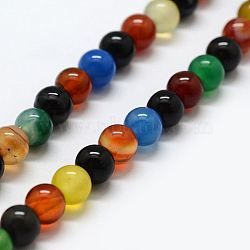 Natural Agate Beads Strands, Dyed & Heated, Round, 10mm, Hole: 1mm; about 37pcs/strand, 15.1inches