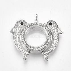 Pendentifs médaillon en alliage, avec le verre et strass, magnétique, dauphin, cristal, platine, 42x46x12.5mm, trou: 3.5 mm; diamètre intérieur: 18 mm(X-PALLOY-Q426-04P)