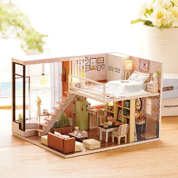 Handmade Assembled Toy Dollhouse, DIY Miniature, Mini House, Hut Villa Creative Birthday Gift To Girlfriend Doll House, Colorful, 245x155x205mm(DIY-WH0023-10)